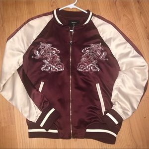 RARE RED&GOLD SATIN BOMBER JACKET WITH DESIGNS